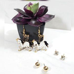 Jewelry - Black Winged Pegasus Unicorn 3 Set Earrings